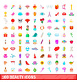 100 beauty icons set cartoon style vector image