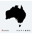 High detailed map of Australia with navigation vector image