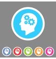 Head think idea gear icon flat web sign symbol vector image