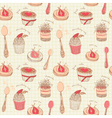 Cupcakes Tea Set Pattern vector image