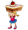 Young Lady Serving Cake Royalty Free Vector Image