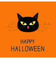Black cat head Yellow eyes fangs curl moustaches vector image
