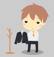 businessman is tiredHe hang suit at clothes rack vector image