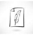 feather grunge icon vector image
