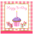 happy birthday cupcakes card vector image