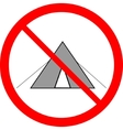 No tent sign in red ring vector image