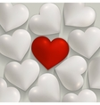 Romantic white and red hearts valentines vector image