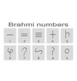 Set of monochrome icons with brahmi numerals vector image