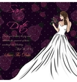 wedding invitation card suite with bride and vector image