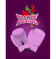 Blonde boxing logo for comic female boxing Pink vector image