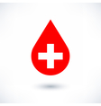 Donate drop blood red sign with white cross vector image