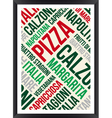 pizza words cloud poster vector image vector image
