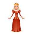 cute queen cheerful ruler crown on head cartoon vector image