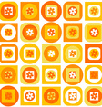 Orange pattern of geometric shapes and flowers vector image