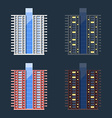 Set of high-rise residential buildings in flat vector image