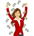 woman happy seeing raining money bills vector image
