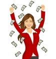 woman happy seeing raining money bills vector image