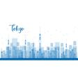 Outline Tokyo City Skyscrapers in blue color vector image