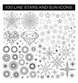 Big Bundle of Stars and Sun Icons vector image