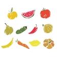 Vegetables and fruits doodle set vector image
