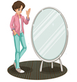 A sparkling mirror beside a fashionable young man vector image