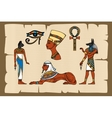 Ancient Egypt symbols on papyrus vector image