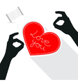 Hands Sewing Love You Title on Paper Red Heart vector image