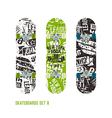 Set of retro vintage drawing on a skateboard vector image