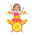 girl playing drums kid performing on stage vector image vector image