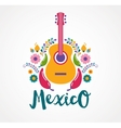 Mexico music and food elements vector image