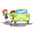 Boy getting out of green car vector image vector image