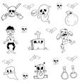 Ghost halloween doodle set vector image