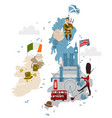 cartoon united kingdom map with national vector image