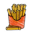 color crayon stripe cartoon box with french fries vector image