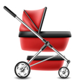 Red baby stroller vector image
