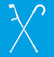 walking cane icon white vector image