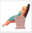 Beautiful blond woman sleeping in airplane vector image