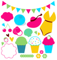 Cute summer elements set isolated on white vector image