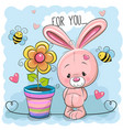 greeting card cute cartoon rabbit with flower vector image