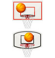 basketball equipments with ball and net vector image