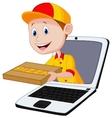 Cartoon Pizza delivery online vector image