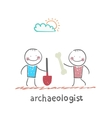archaeologist holding a shovel and another vector image vector image
