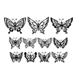 Set of silhouette wonderful butterflies vector image