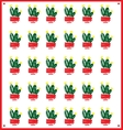 pattern of green decorative cactus vector image vector image