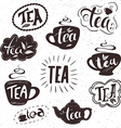 hand drawn set of lettering tea badge labels signs vector image