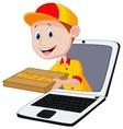 Cartoon Pizza delivery online vector image