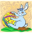 Easter bunny with big egg and brush vector image