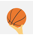 hand with basketball ball vector image