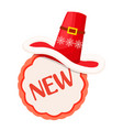 new round label with red contour and santa hat vector image