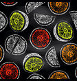 seamless pattern of isolated hand drawn citrus vector image